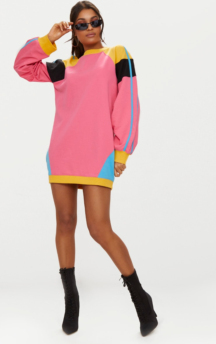 Pink Colour Block Sweater Dress 1