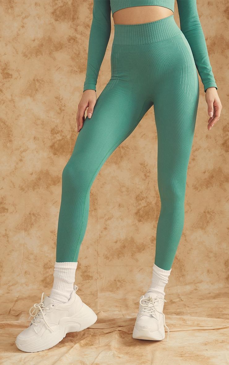 PRETTYLITTLETHING Green Contour Seamless Gym Leggings 3
