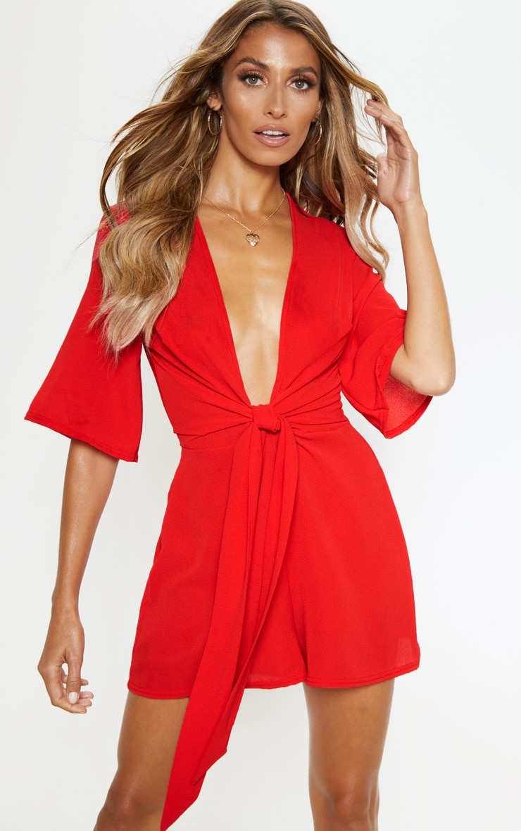 Red Tie Front Playsuit 1