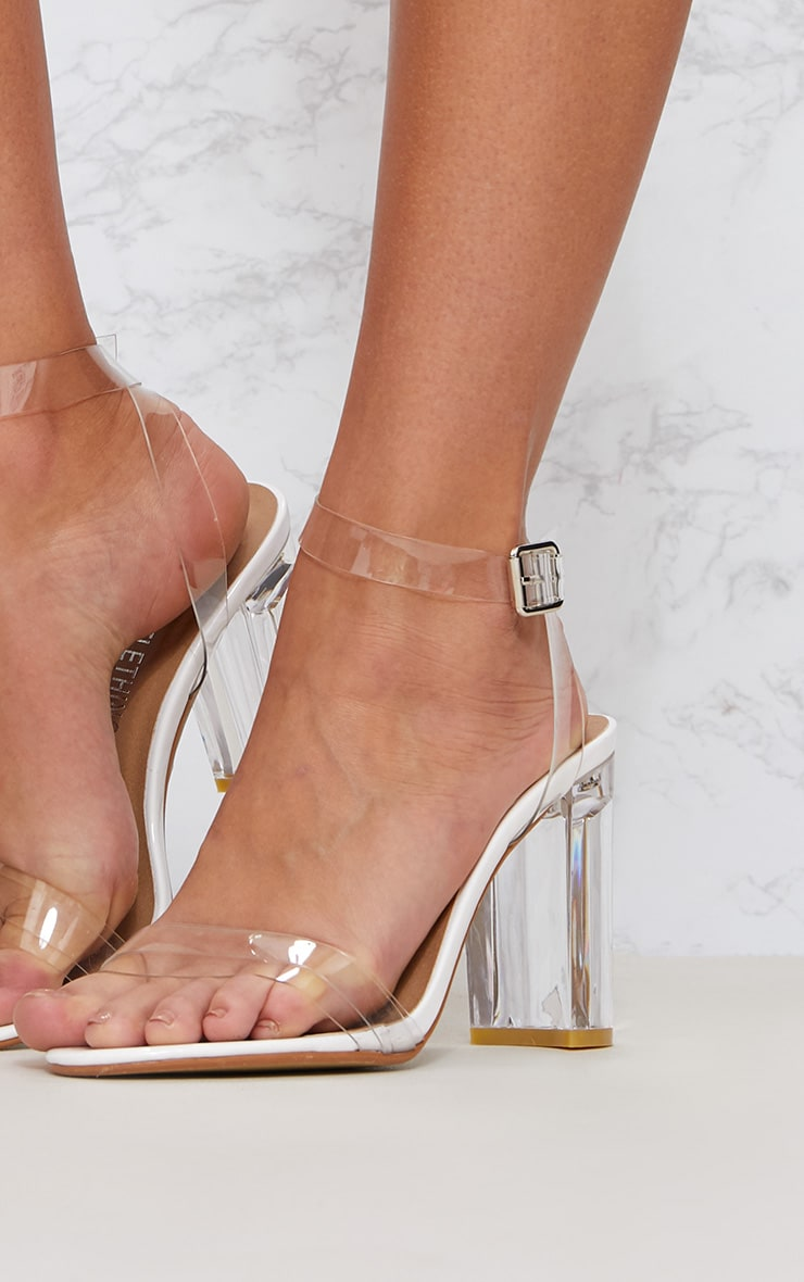 White Clear Block Heel Sandal 5