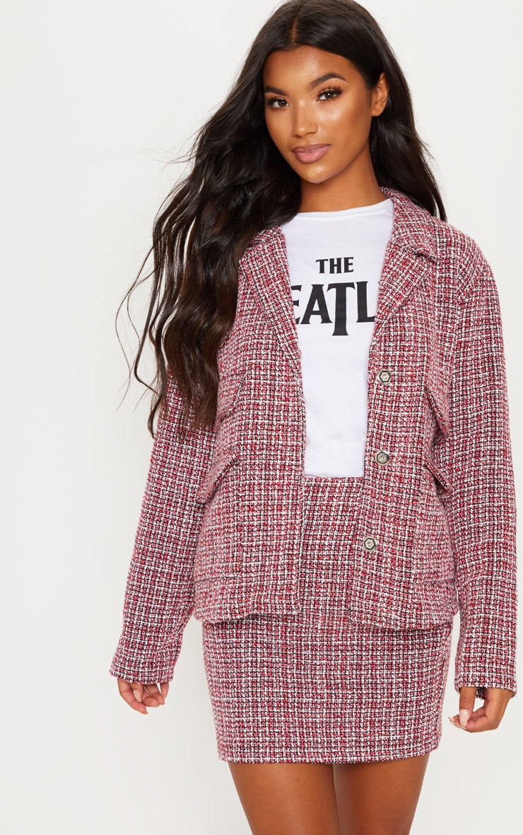 Red Tartan Boucle Button Detail Jacket