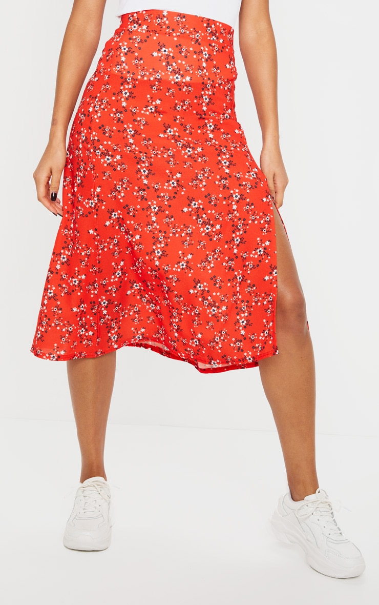 Red Ditsy Floral Floaty Midi Skirt 2