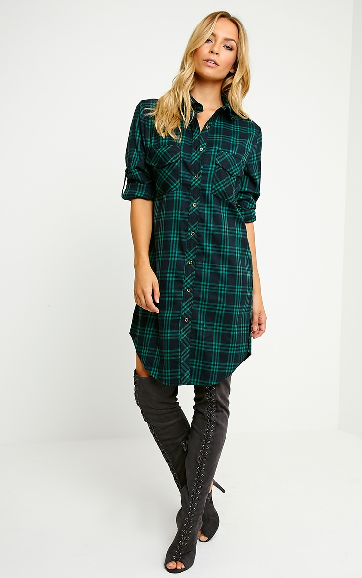 Bertram Green Checked Shirt Dress 4