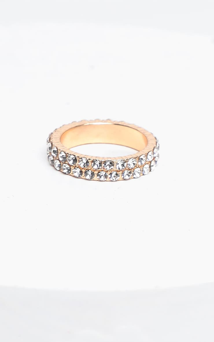 Gold Double Row Diamante Ring 2