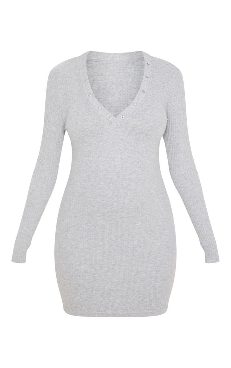 Grey Heavy Rib Popper Neck Long Sleeve Bodycon Dress  3