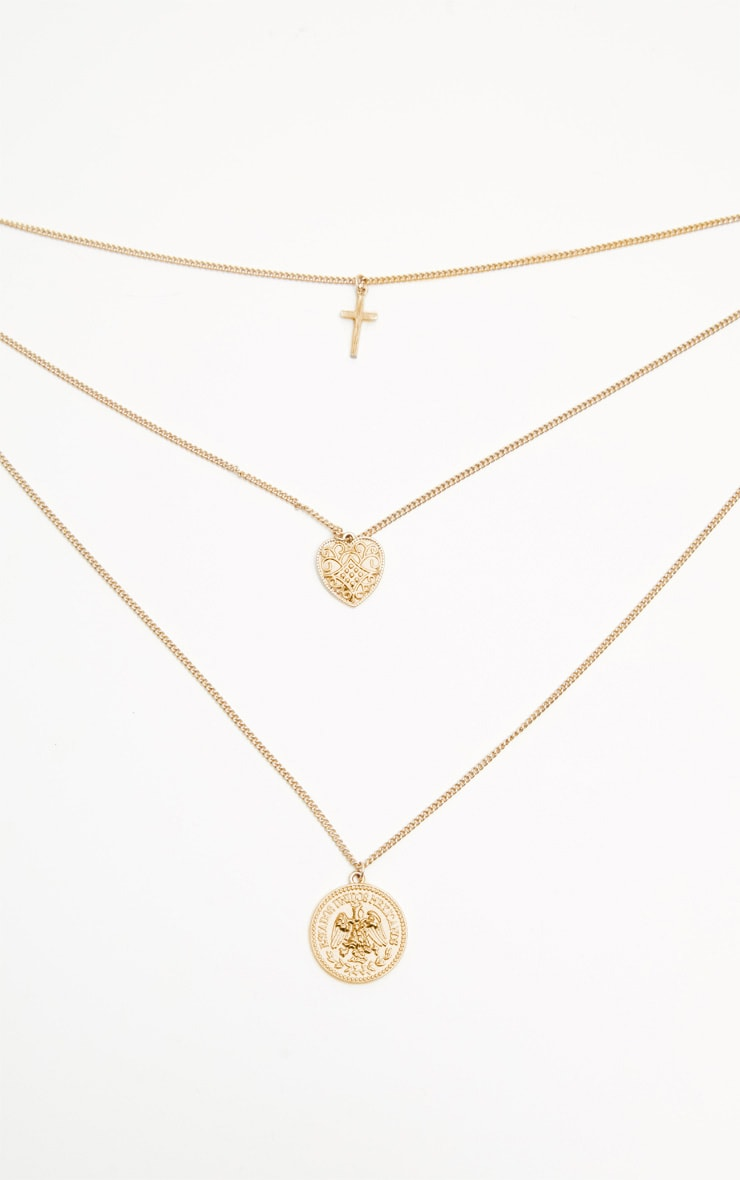 Gold Heart Mini Coin Double Layer Necklace 3
