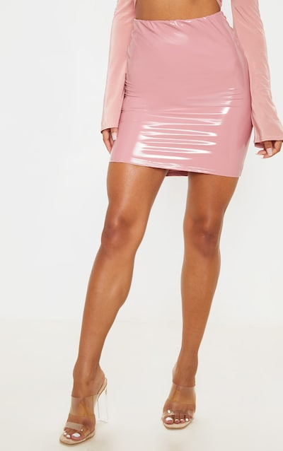 Rose Pink Vinyl Ruched Bum Mini Skirt