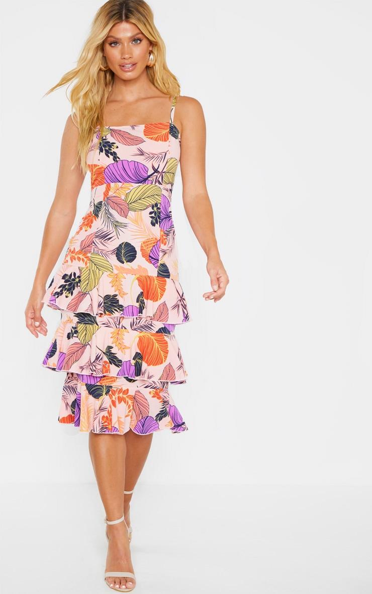 Nude Tropical Print Ruffle Tiered Midi Dress 4