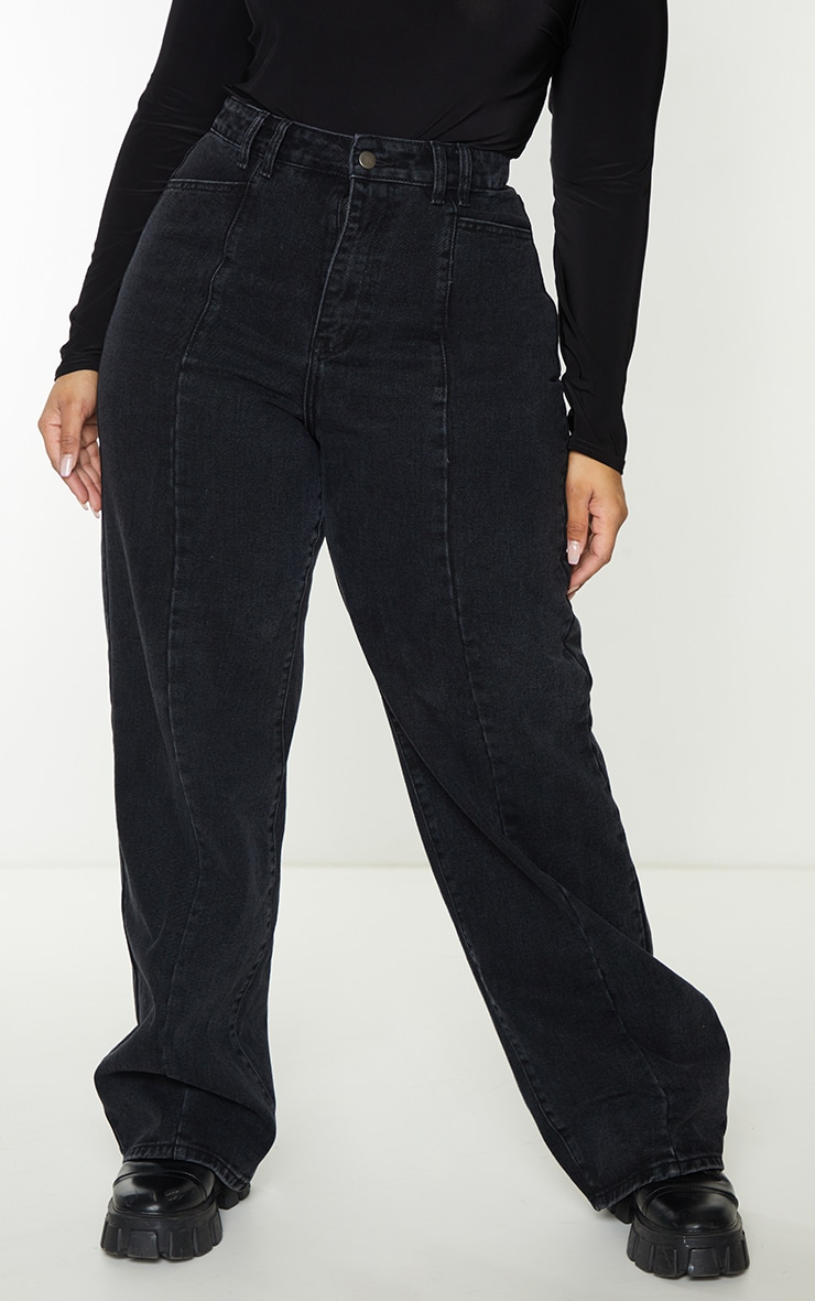 Plus Black Vintage Wash Seam Front Wide Leg Jeans 2