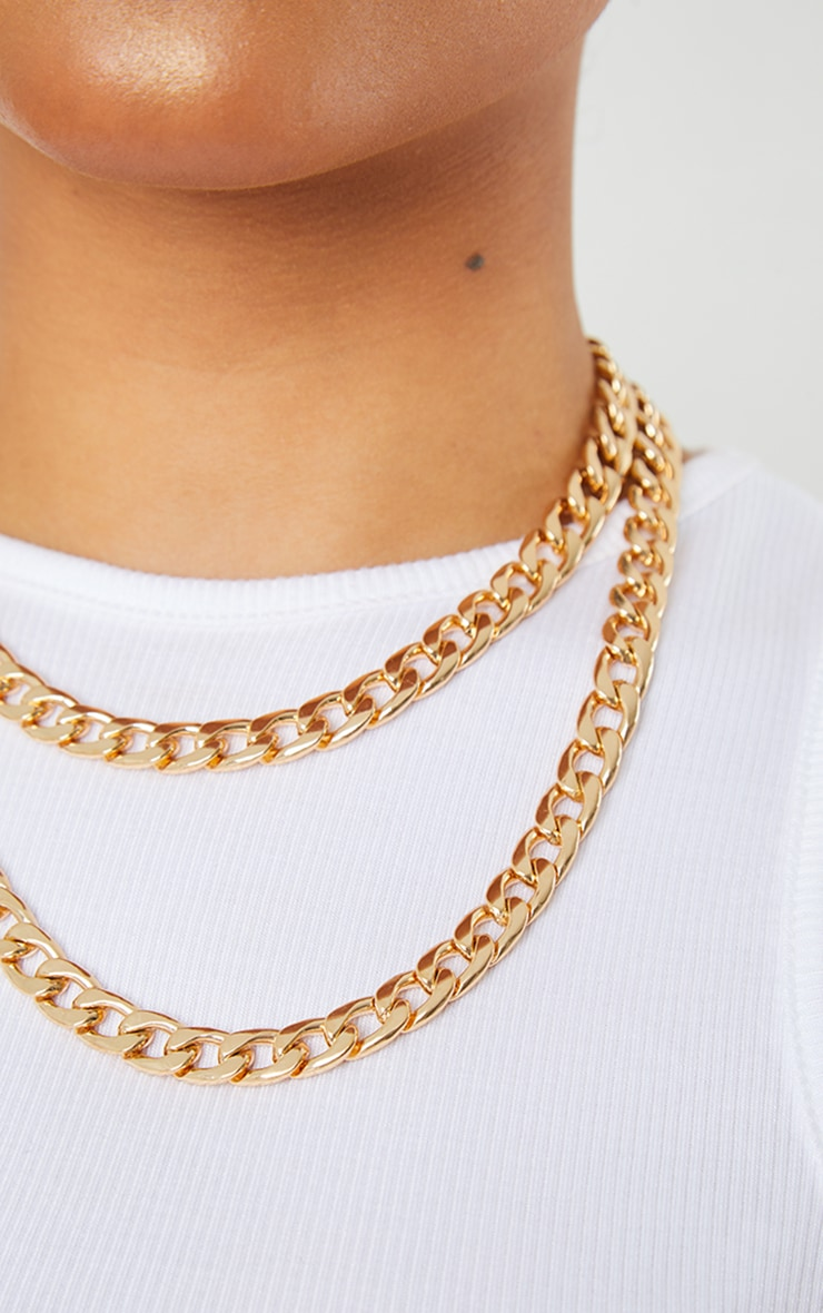 Gold Chunky Double Chain Necklace 2