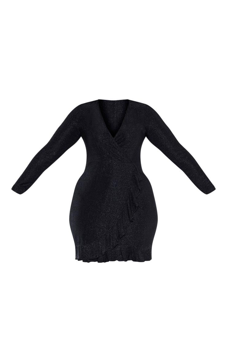 Plus Black Glitter Wrap Frill Dress 3