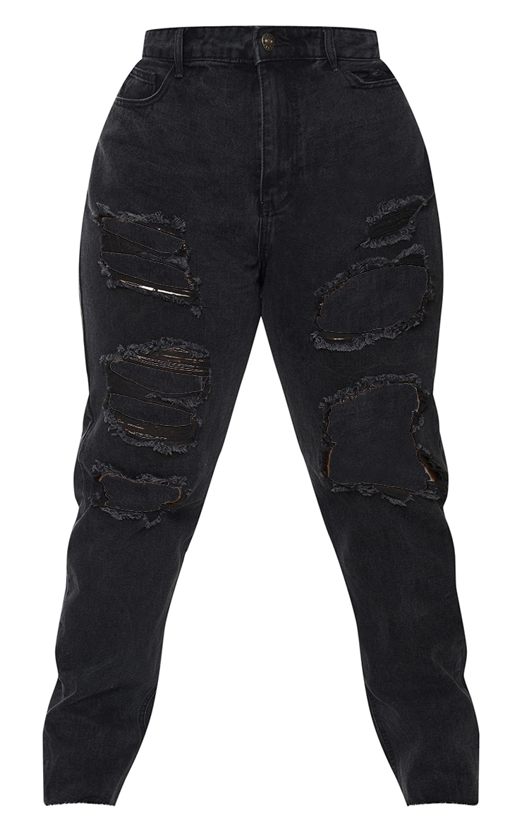 PRETTYLITTLETHING Plus Washed Black Extreme Distressed Slim Fit Jeans 5