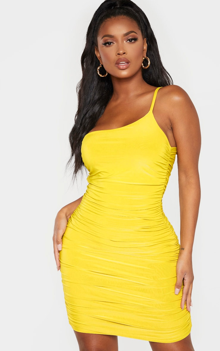 Shape Chartreuse Slinky Ruched Asymmetric Bodycon Dress 1