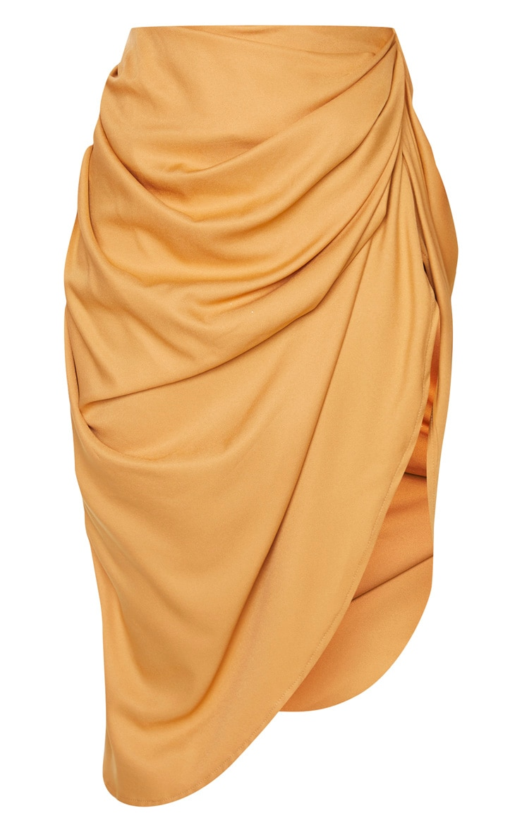 Camel Ruched Side Midi Skirt 3