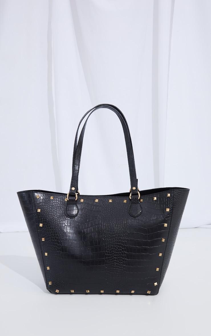 Black Croc Gold Studded Tote Bag 2
