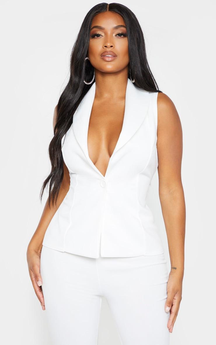 Shape White Collar Detail Waistcoat 1