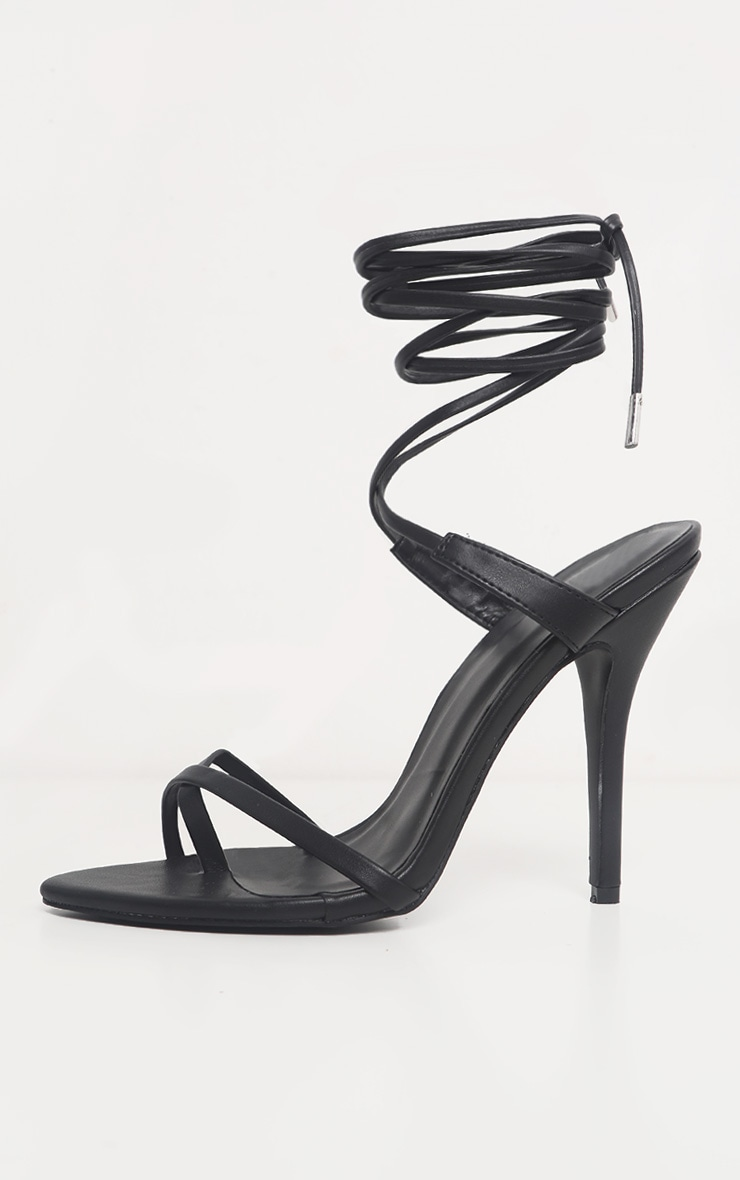 Black Mid Heel Toe Loop Ankle Tie Heel 4