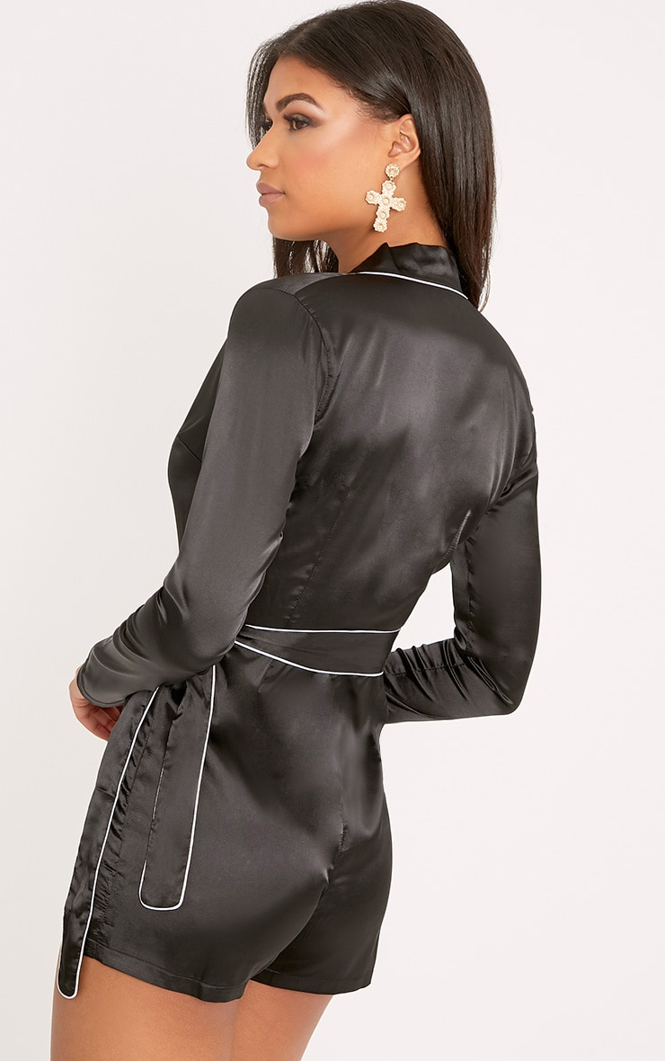 Alisha Black Pyjama Style Playsuit 2