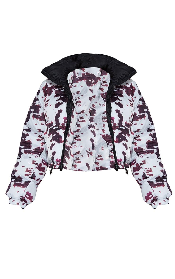Black Cow Print Reversible Zip Up Puffer Jacket 5