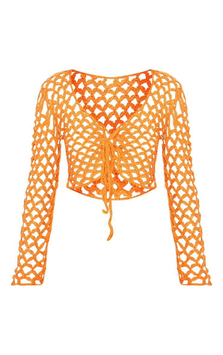 Crop top en crochet orange à lacets 3