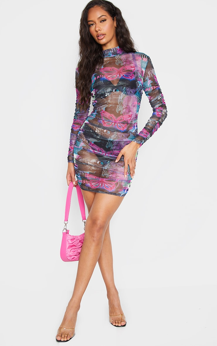 Multi Robot Print Mesh High Neck Long Sleeve Ruched Bodycon Dress 3