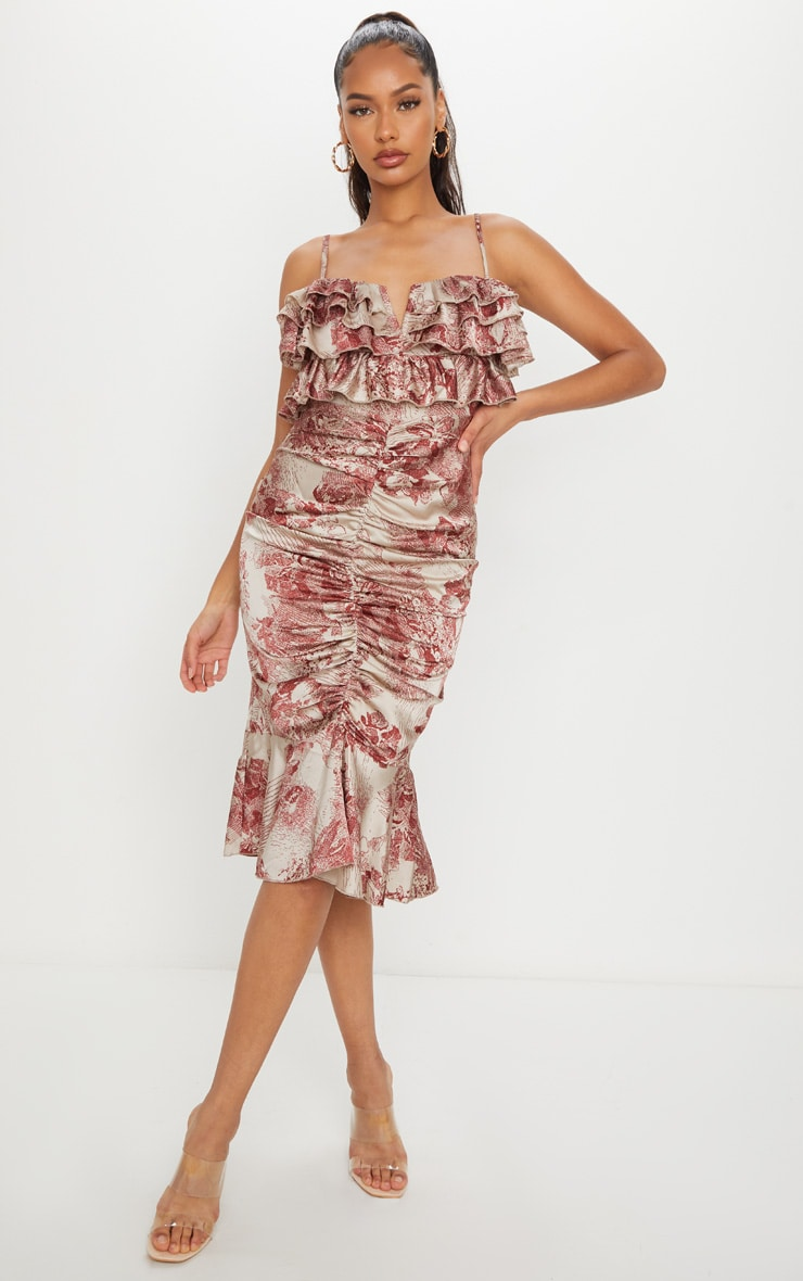 Burgundy Floral Ruffle Detail Gathered Front Midi Dress 1