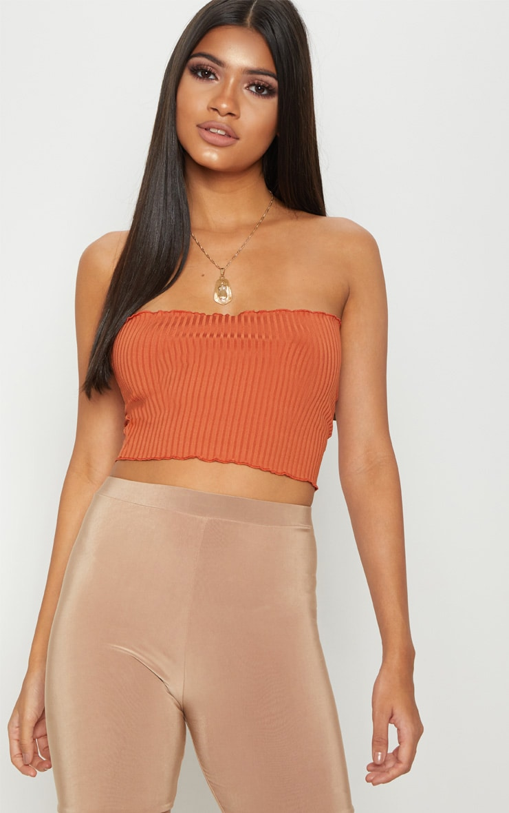 Burnt Orange Rib Frill Hem Bandeau Crop Top 1