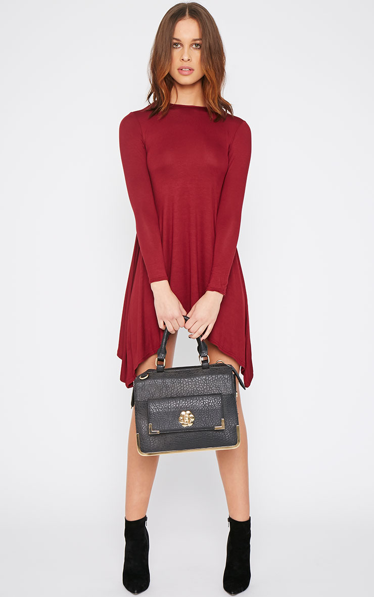 Basic Burgundy Swing Dress 3