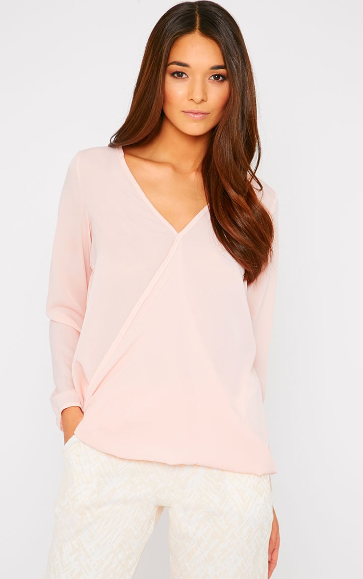 Julie Pink Wrap Front V Back Top 1