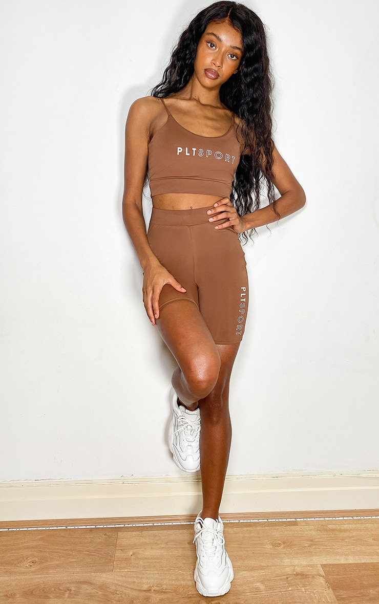 PRETTYLITTLETHING Chocolate Sport Cycle Shorts 1