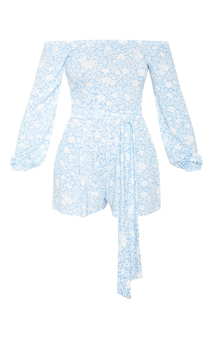 Blue Floral Print Bardot Playsuit 3