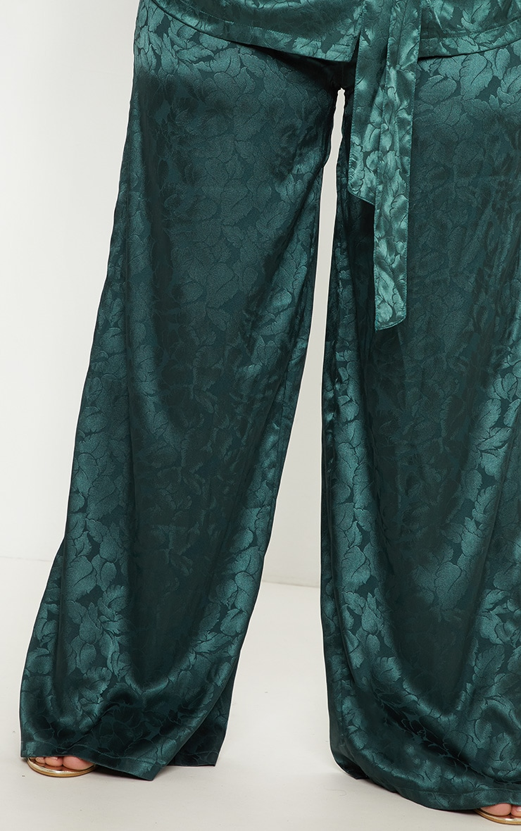 Plus Emerald Green Satin Jacquard Wide Leg Trouser 5