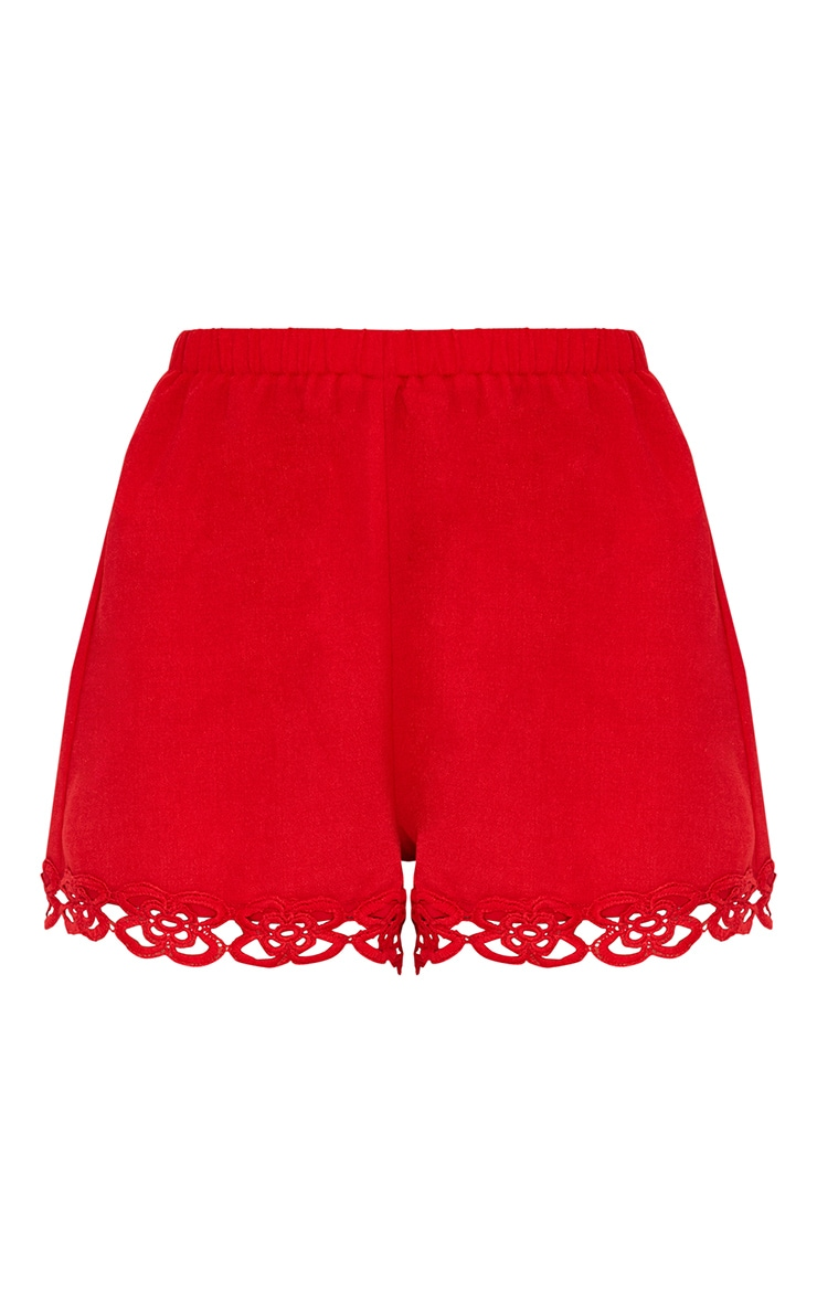 Petite Red Crochet Trim Shorts 3