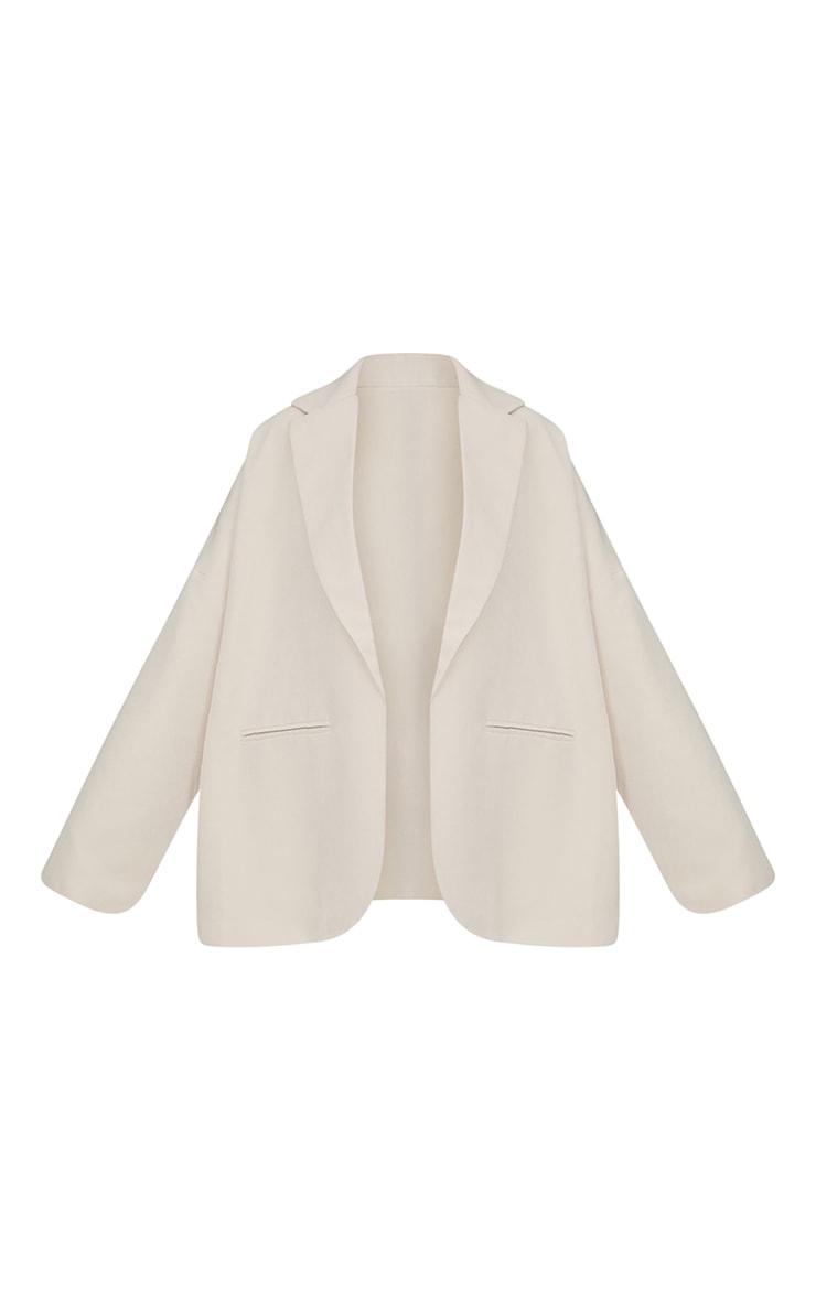 Cream Woven Drop Shoulder Oversized Dad Blazer 5