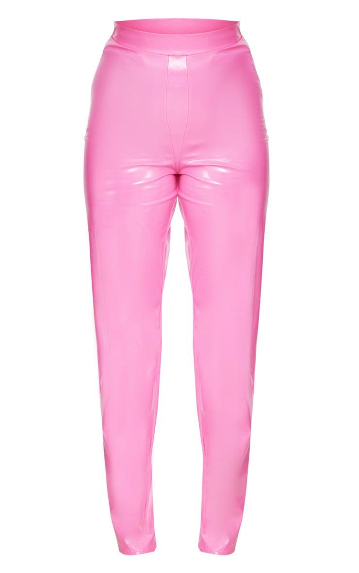 Vinyl Hot Pink High Waist Pants 3