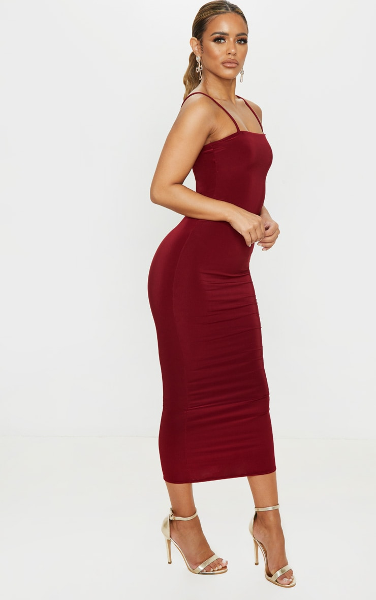 Petite Burgundy Square Neck Strappy Slinky Midaxi Dress 4