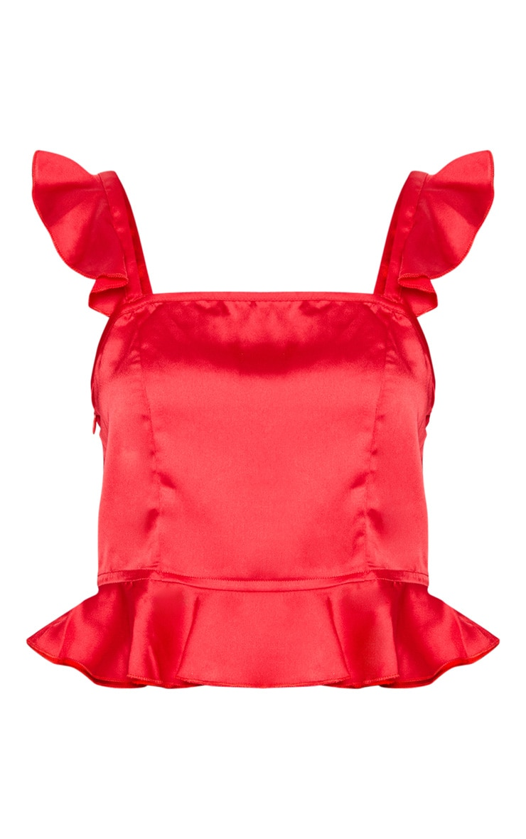 Petite Red Frill Strap Crop Top 3