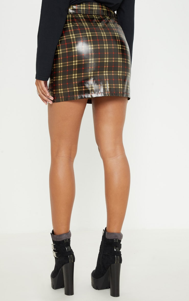Black Check Belted Waist Patent Mini Skirt 4