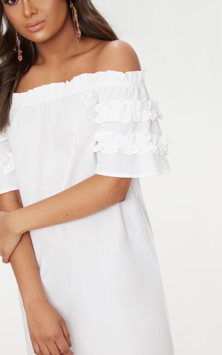 Petite White Ruffle Sleeve Bardot Shift Dress 5