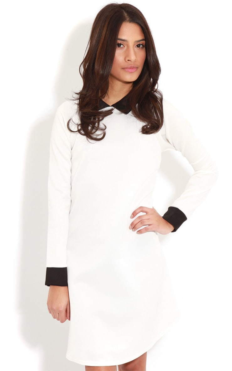 Evelyn White Long Sleeved Collar Dress 1