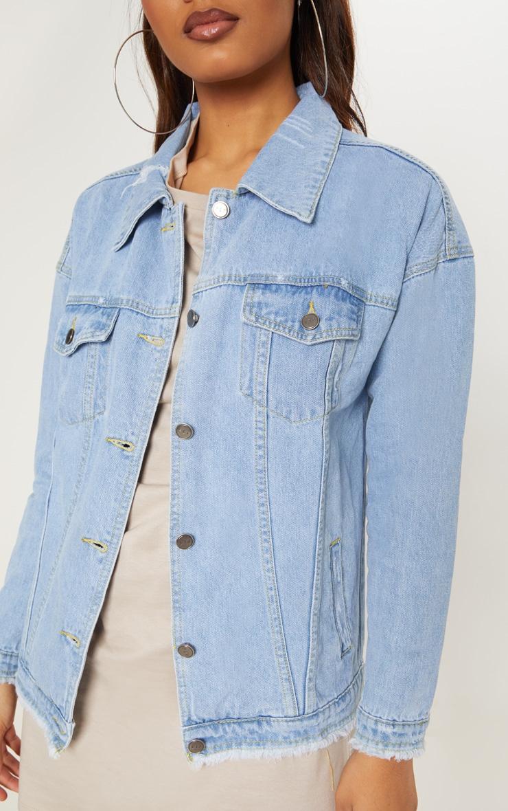 Tall Light Wash Oversized Denim Jacket 5