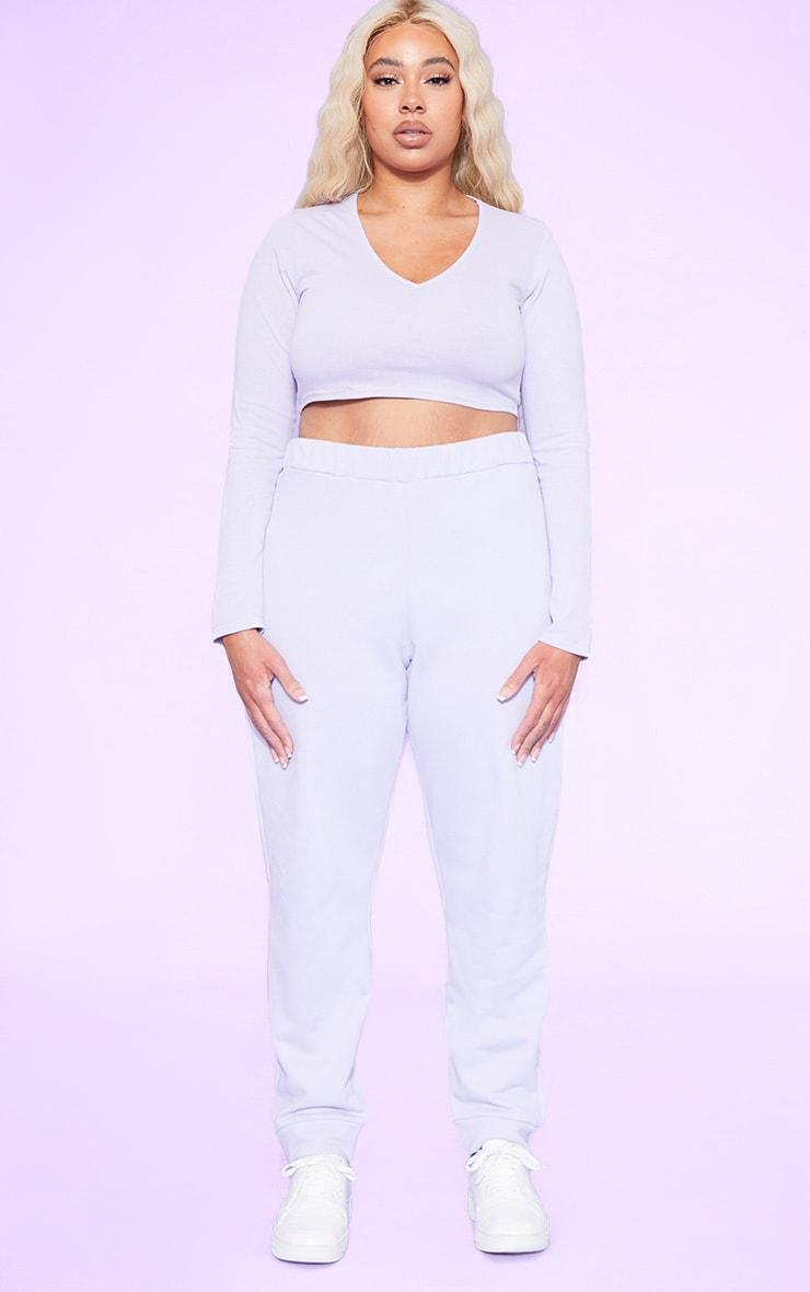 RECYCLED Plus Pale Violet Plunge Long Sleeve Crop Top 4