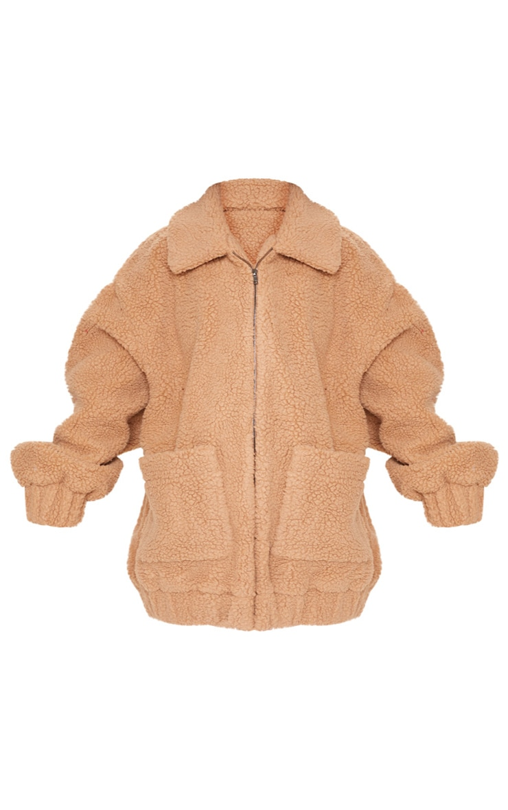 Camel Borg Pocket Front Coat  4