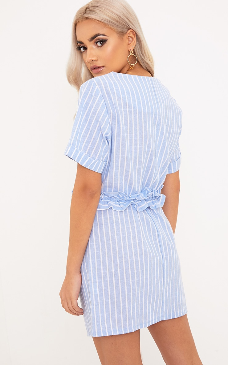 Kendrick Blue Pinstripe Frill Waist Detail Shift Dress 2
