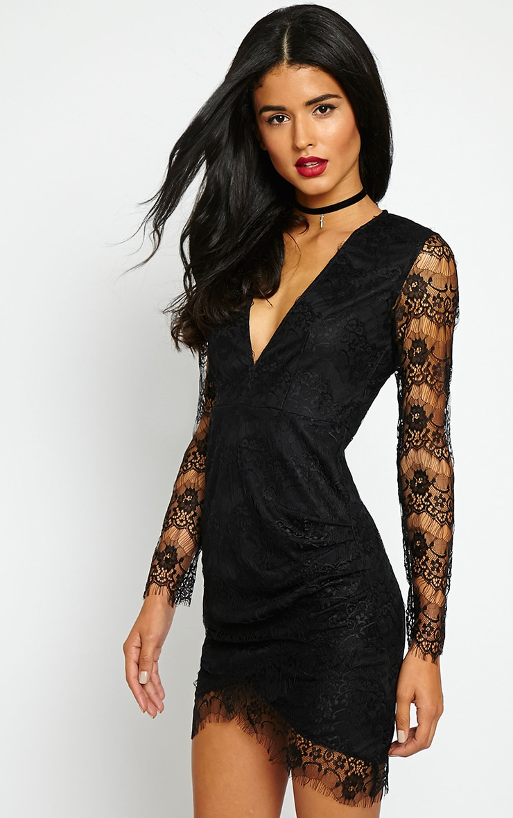 Giulia Black Lace Sleeve Plunge Dress 5