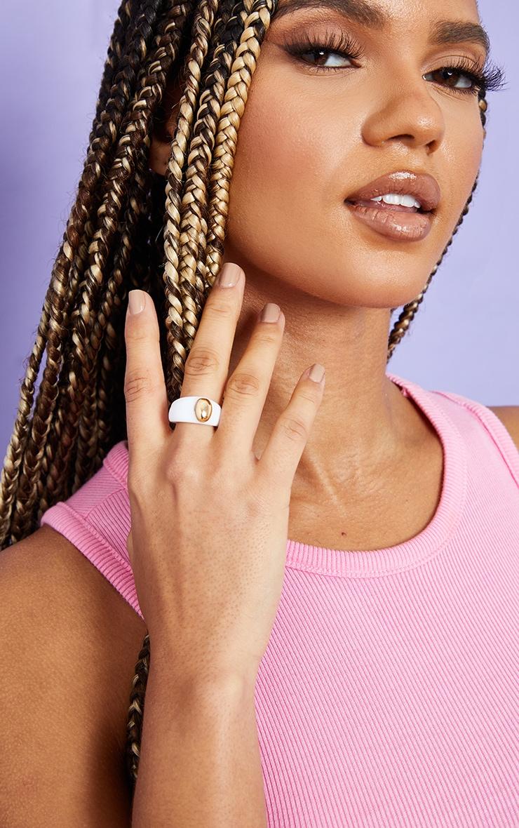 White Resin Gold Ball Ring 1