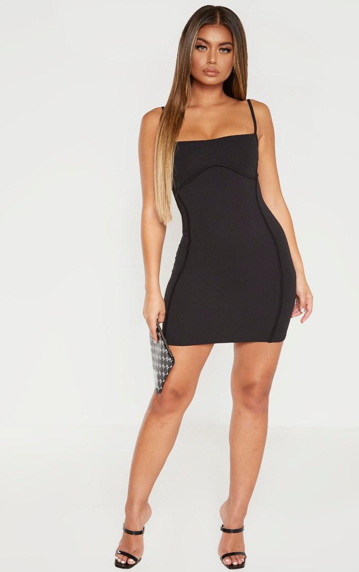 Black Strappy Binding Bust Detail Bodycon Dress 4