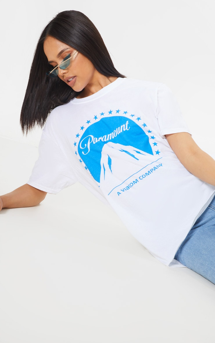 White Paramount Slogan Oversized T Shirt 5
