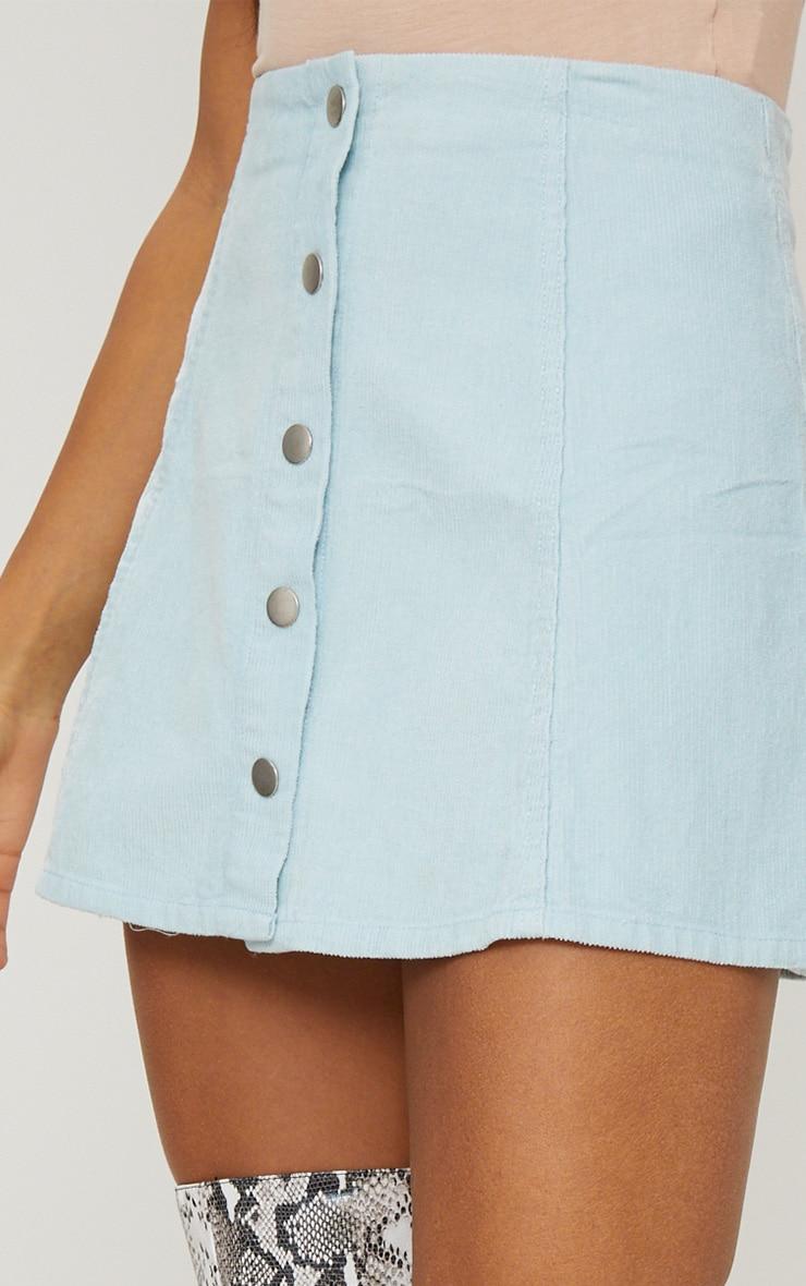 Baby Blue A-Line Cord Mini Skirt 6