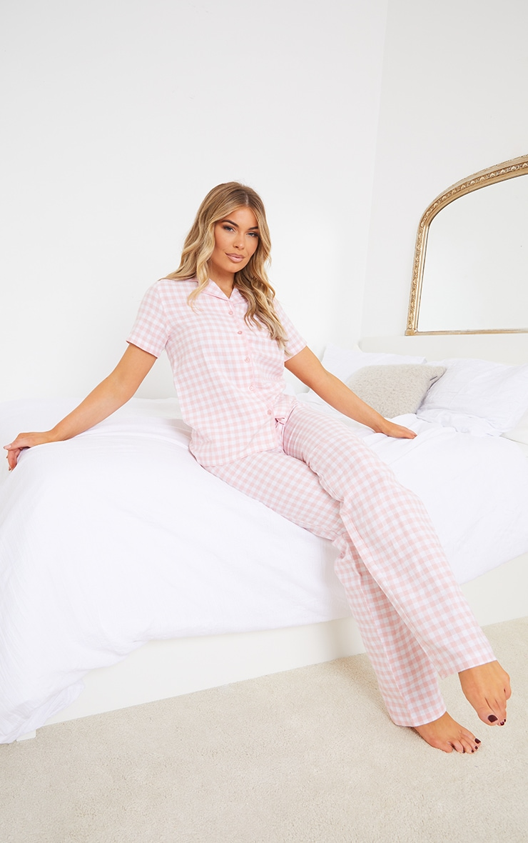 Pale Pink Mix And Match Tie Waist Check PJ Trousers 1